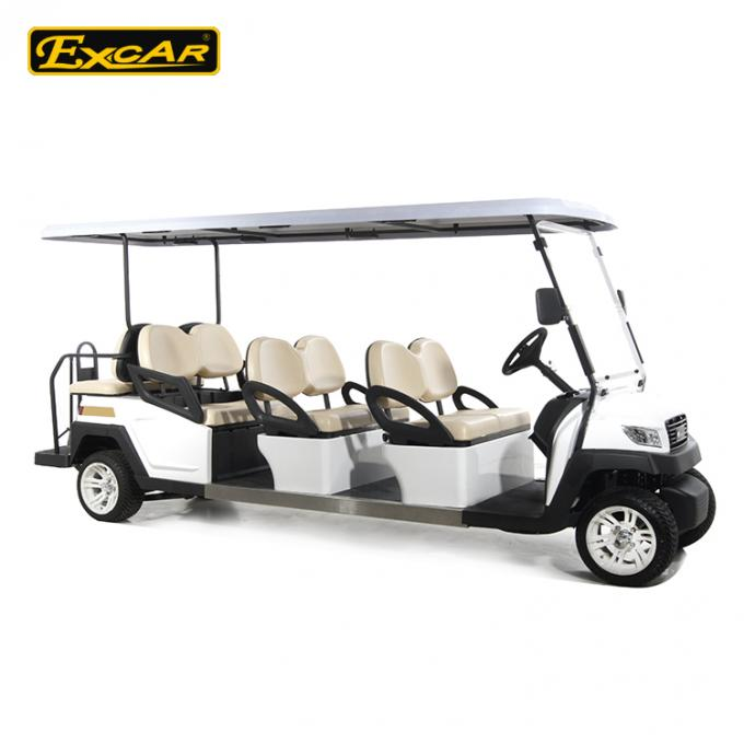 EXCAR 8 Seater White Electric Sightseeing Car Tourist Bus With Onboard 17AH Charger
