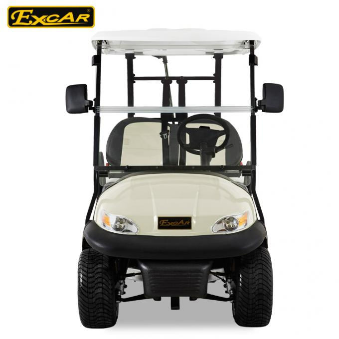 EXCAR Beige Color Small Electric Golf Car With Italy Graziano Axle LED Headlight