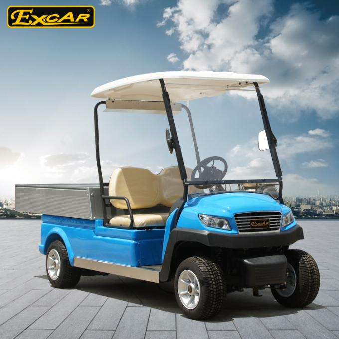 Blue Electric Utility Golf Cart Hotel Buggy Car For 2 Person Battery Operated CE Approved