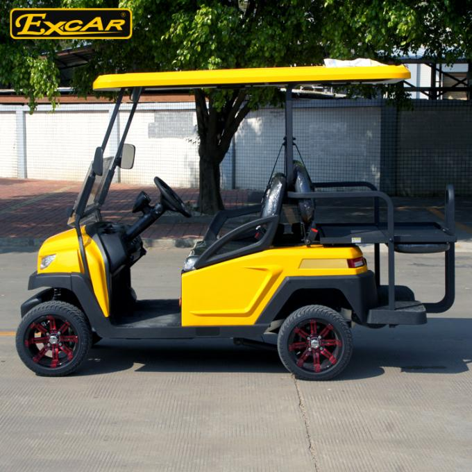 EXCAR yellow CE Approved 48V Trojan Battery Powered Electric Golf Cart Yellow Colour