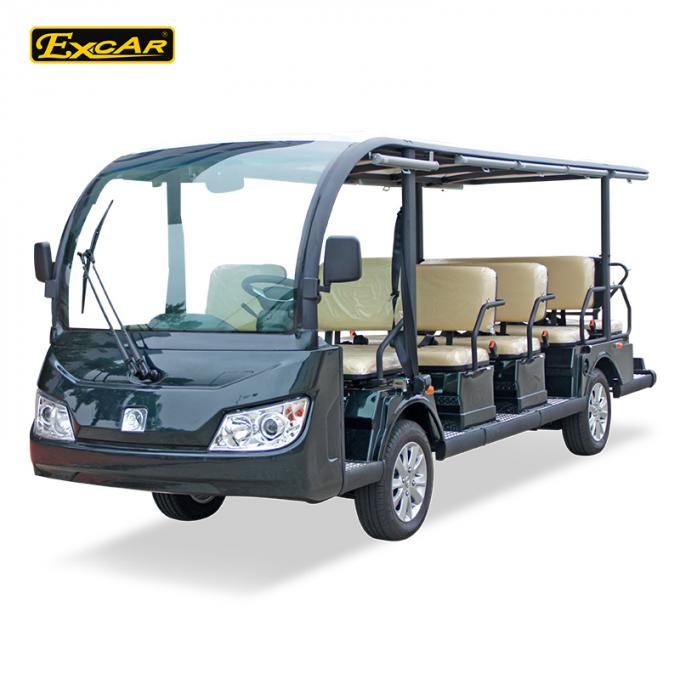 Green / Black Rustproof Body electric sightseeing bus tour 1 year Warranty