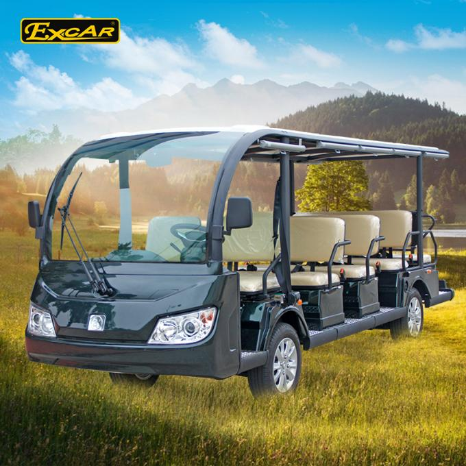 Green / Black 14 Seater Electric Sightseeing Bus KDS Motor 72V 7.5KM