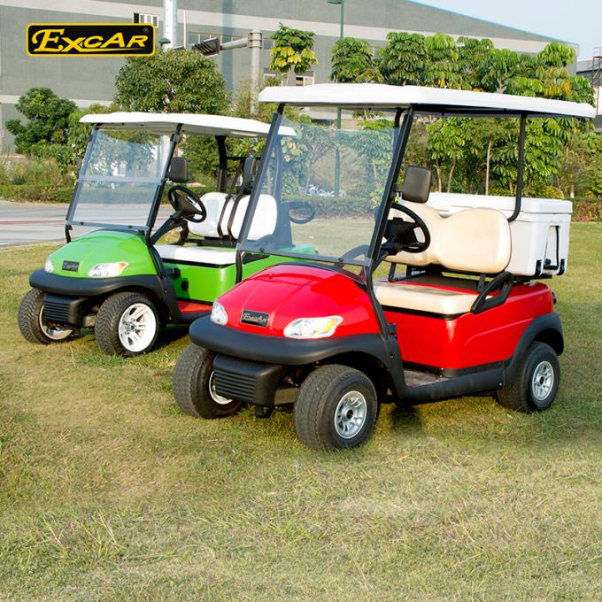 Red 48V Trojan Battery Electric Golf Car With Small Ice Box / Two Seater Golf Buggy