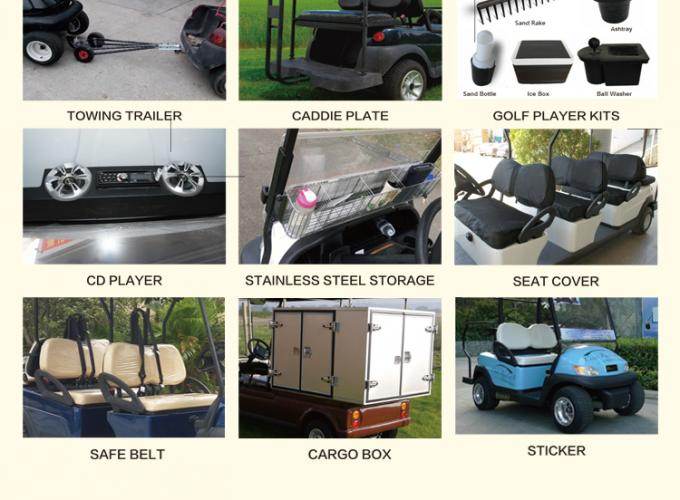 Front / Rear 4 Seats Electric Golf Carts , Battery Powered Electric Caddy Carts 4