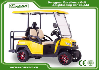 China EXCAR yellow CE Approved 48V Trojan Battery Powered Electric Golf Cart Yellow Colour supplier