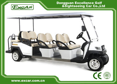 China EXCAR 8 Seater White Electric Sightseeing Car Tourist Bus With Onboard 17AH Charger supplier
