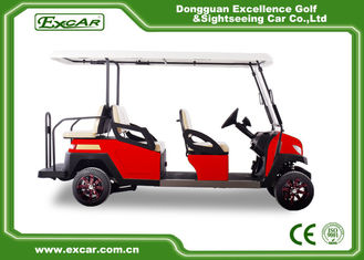 China Fuel Type Electric Golf Carts Red 6 Seater Golf Cart With Graziano Axle supplier