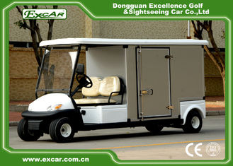 China EXCAR White Electric Utility Carts Food Cart With Two Seater E-KEY Deep Cup Holders with Customized Cargo supplier