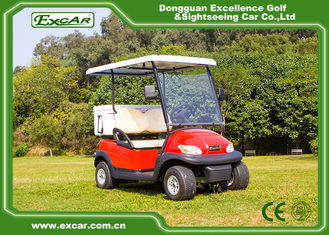 China Red 48V Trojan Battery Electric Golf Car With Small Ice Box / Two Seater Golf Buggy supplier